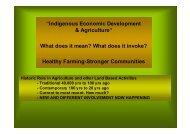 Indigenous Economic Development & Agriculture - The University of ...