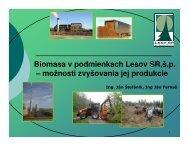 Biomasa v podmienkach Lesov SR, Ã…Â¡.p.
