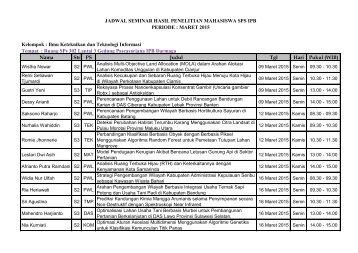jadwal seminar 9 maret 2015