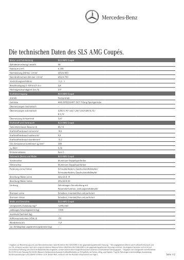 Die technischen Daten des SLS AMG Coupés. - Mercedes-Benz ...
