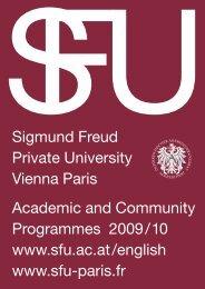 Sigmund Freud Private University Vienna Paris Academic and ...