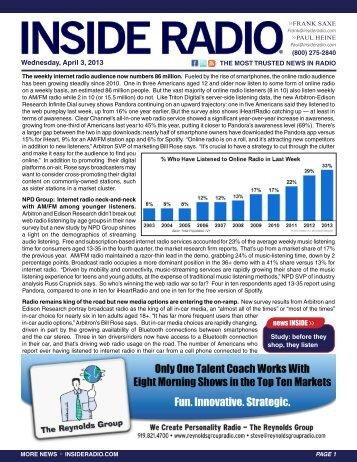 news INSIDE >> Wednesday, April 3, 2013