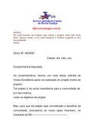 Ofício Nº. 08/2009 Cidade, dia, mês, ano Excelentíssima Deputada ...