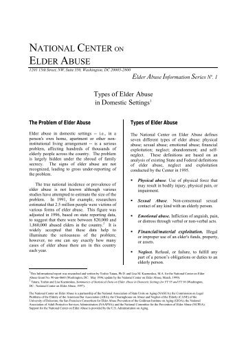 Types of Elder Abuse in Domestic Settings - National Center on ...