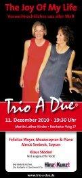 The Joy Of My Life Vorweihnachtliches aus aller Welt ... - Trio A Due