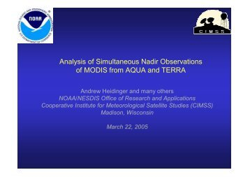 Analysis of Simultaneous Nadir Observations of MODIS from AQUA ...