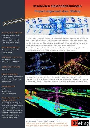 Inscannen elektriciteitsmasten Project uitgevoerd door 3Deling