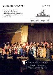 Nr. 58: Juni - Juli - Evangelische Trinitatiskirchengemeinde Marburg ...