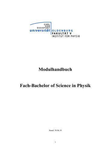 Modulhandbuch Fach-Bachelor of Science in Physik