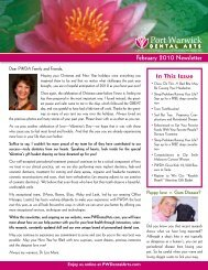 February 2010 Newsletter In This Issue - Port Warwick Dental Arts