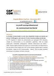 Le profil socioprofessionnel du communicant territorial - Cap'Com