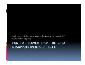 How to Recover from Life's Disappointments
