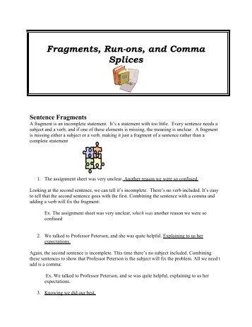 Avoiding Run-On Sentences, Comma Splices, and Fragments