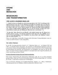 STEINE UND MENSCHEN BEGEGNUNG UND TRANSFORMATION