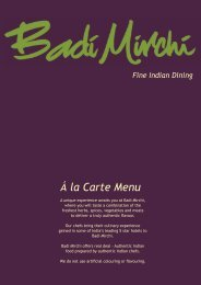 Á la Carte Menu Fine Indian Dining - Badi Mirchi