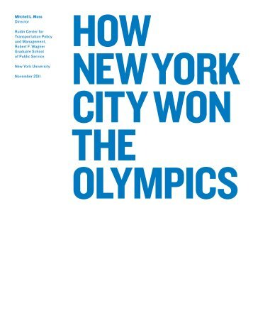How New York City Won the Olympics - NYU Wagner - New York ...