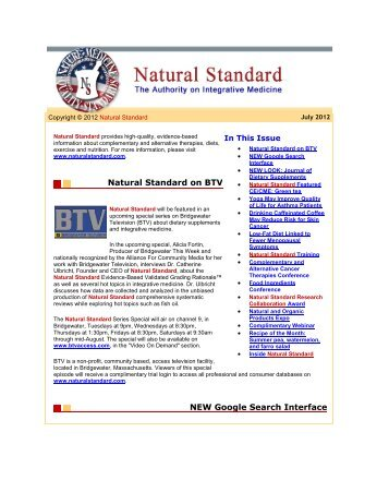 Natural Standard on BTV NEW Google Search Interface