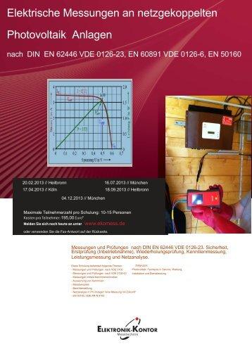 Elektrische Messungen an netzgekoppelten Photovoltaik Anlagen