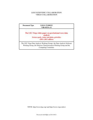 LIGO SCIENTIFIC COLLABORATION VIRGO COLLABORATION ...