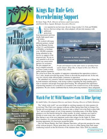 Kings Bay Rule Gets Overwhelming Support - Save the Manatee Club