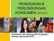 pendidikan & perlindungan konsumen - Departemen Ilmu Keluarga ...
