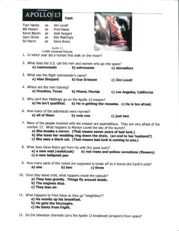 Apollo 13 video worksheet answers