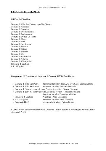2011 Area Ovest - Sociale - Provincia di Cagliari