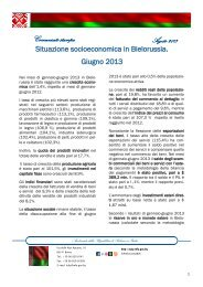 Sullo sviluppo socioeconomico della Bielorussia nei mesi di ...