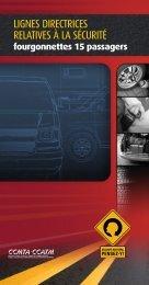 Lignes directrices relatives à la sécurité - fourgonnettes 15 passagers