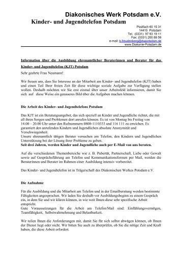 Infobrief Kinder- und Jugendtelefon - Ehrenamt in Potsdam
