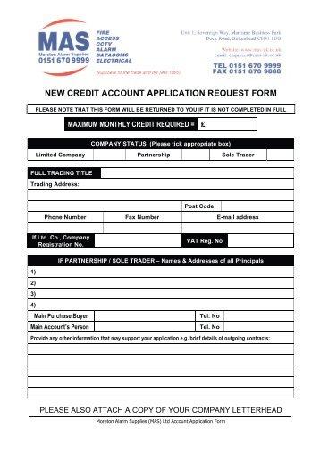 Accounts Application PDF Download - MAS (Moreton Alarm Supplies)