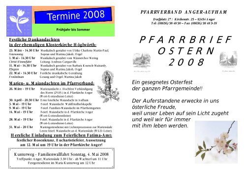 Pfarrbrief Ostern 2008 - Pfarrverband Anger-Aufham
