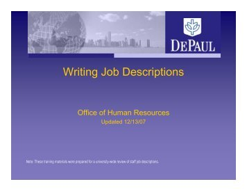 Writing Job Descriptions - Human Resources