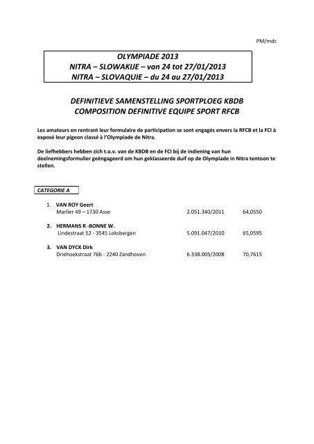 OLYMPIADE 2013 NITRA – SLOWAKIJE – van 24 tot 27/01/2013 ...