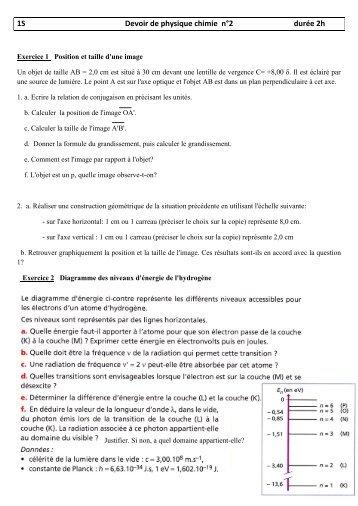 devoir de physique chimie 3eme