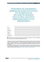 Consultation publique - Ouverture à l'enregistrement des ... - Afnic