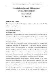 LINGUISTICA STORICA Paola Cotticelli AA 2012-2013