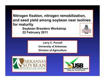 Nitrogen fixation, nitrogen remobilization, and seed yield ... - SoyBase