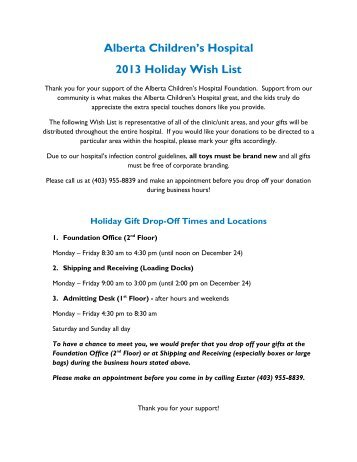 Alberta Children's Hospital 2012 Holiday Wish List