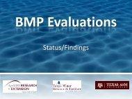 BMP Evaluations Status/Findings