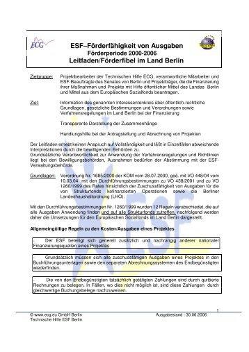 ESF–Förderfähigkeit von Ausgaben Leitfaden ... - ECG GmbH Berlin