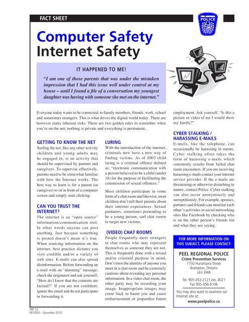 Computer Safety Internet Safety Peel Regional Police