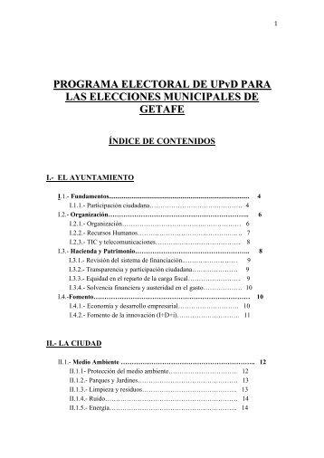 Programa Municipal Ayuntamiento de Getafe - UPyD