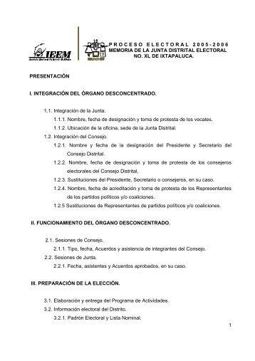 proceso electoral 2005-2006 memoria de la junta ... - Ieem.org.mx