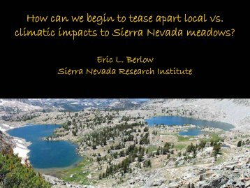 how can we begin to tease apart local vs. climatic impacts to ...