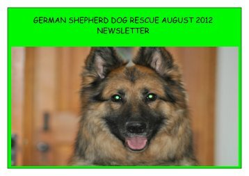 GERMAN SHEPHERD DOG RESCUE AUGUST 2012 NEWSLETTER