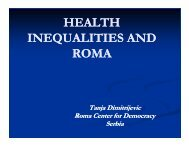 HEALTH INEQUALITIES AND ROMA