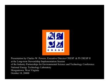 View Presentation - CRESP Consortium for Risk Evaluation with ...
