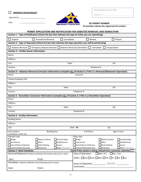 permit application and notification for asbestos removal and ...