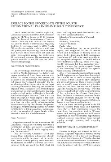 Preface to the Proceedings of the Fourth ... - Partners in Flight
